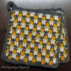 Silmukanjuoksuja: Briketti-patalappu -ohje Crochet Stitches, Knit Crochet, Chrochet, Pot Holders, Diy And Crafts, Weaving, Blanket, Handmade, Inspiration