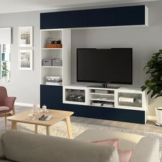 IKEA - BESTÅ TV storage combination/glass doors walnut effect light Tv Storage, Storage Spaces, Tv Banco, Besta Tv Bank, Bibliotheque Design, Frame Shelf, Glass Front Door, Glass Doors, Steel Doors