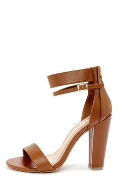 Check it out from Lulus.com! If you've got a sixth sense for shoes, then you probably already knew how cute the Bamboo Senza 01 Chestnut Single Strap High Heels were going to be! Matte brown vegan leather is chic and simple with a peep toe-framing toe band. A layered heel cup supports a wide elasticized ankle strap that sits high, as well as a thinner buckled strap below. 3