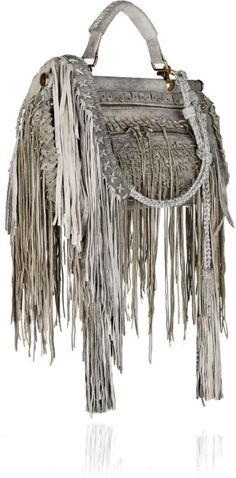 cavalli fringe | Roberto Cavalli Doctor Fringed Distressed Suede Bag in Gray - Lyst