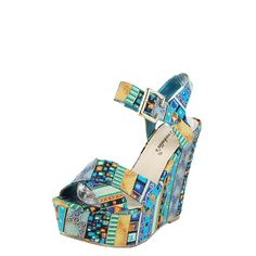 Breckelle's Leslie Turquoise Tribal Stripe Ankle Strap Wedges