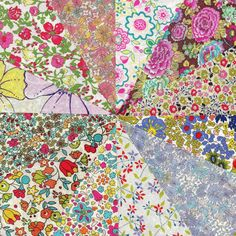Liberty Fabric charm pack - PRETTY FLORALS - 12 Liberty of London Tana Lawn Fabric 5 inch squares