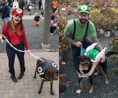 Mario Themed Costumes for Dogs and People People & Pet Super Mario Bros. Mario Kart Costumes, Mario Halloween Costumes, Yoshi Costume, Super Mario Costumes, Mario And Luigi Costume, Diy Dog Costumes, Theme Halloween, Family Costumes, Costume Ideas