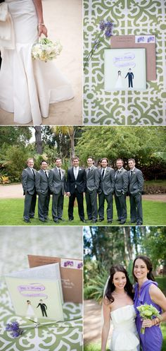 I kind of like how the groom stands out from his men with the darker jacket.