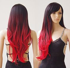 28  70cm Synthetic Wig 2 Tone Ombre Color Japanese Kanekalon Fiber Heat Resistant Full Wig with Bangs Long Curly Wavy Full HeadStretchable Elastic Wig Net for Women Girls Black to Red * See this great product.(This is an Amazon affiliate link and I receive a commission for the sales)