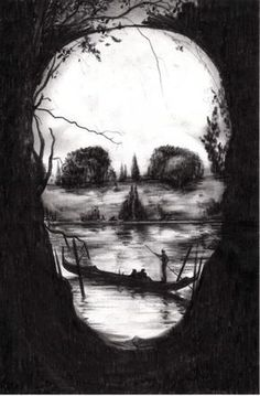Fantastic painting of a skull with people out for the day on the lake for a canoe ride. A beautiful representation of optical illusion art! Image Illusion, Illusion Art, Illusion Drawings, Illusion Kunst, Art Noir, Natur Tattoos, Totenkopf Tattoos, Tatoo Art, Tattoo Pics