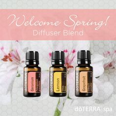 """Guess what—spring is here! In celebration, try this """"springy"""" blend! Geranium, Lemon, and Grapefruit will help welcome spring into your home. Happy blending!"""