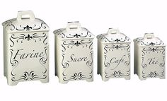 J WILLFRED FRENCH CANISTER BLACK SCRIPT SET OF 4