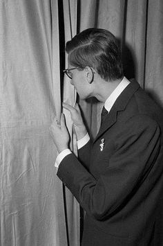 Yves Saint Laurent backstage for his first collection at  Dior. Paris, 1958.