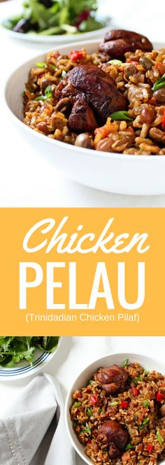 Chicken pelau (/pəˈlaʊ/) is a very popular one-pot dish in Trinidad and Tobago and it's this country's version of a pilaf.  This flavorful, gluten-free recipes makes a complete meal with the addition of a fresh green salad or vegetables.