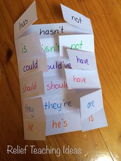 Here is a simple foldable, that students can make, to demonstrate compound words. You can also use this same foldable to show contractions. All you need is A4 paper, scissors, and pencils.