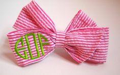 Monogrammed Pink Seersucker Hair Bow by eolsendesigns on Etsy, $20.00