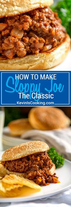 The classic Sloppy Joe sandwich is an American loose meat sandwich, consisting of browned ground beef, tomato sauce, mustard, Worcestershire sauce and other seasonings served on a toasted hamburger bun. #sloppyjoe #sandwich via @keviniscooking