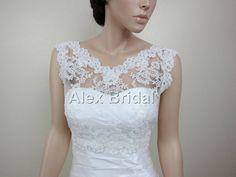 Vneck ivory reembroidered Lace bolero jacket Bridal by alexbridal, $99.99