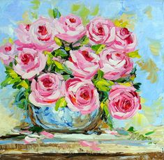 Rose Still Life Pink Flower Palette Knife Impasto Textured Impressionist Oil Painting on Small Canvas Ready to Hang Original Wall Art