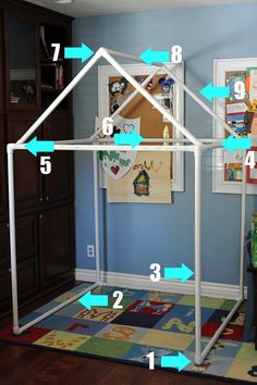 How to make that PVC fort including the measurements! Such a cute idea for the kids!