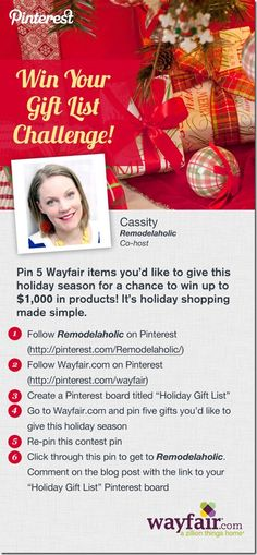 Win Your Gift List! $1,000 Pinterest Contesthttp://pinterest.com/makingdreamhome/holiday-gift-list/