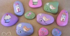 Rip little pieces of paper from your book and glue them down to your rock. Once all the rocks are done, sand them slightly so they feel smooth. Use a pencil to lightly draw a heart and write the wo…