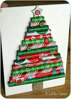 Christmas Tree Made From Wrapping Paper Scraps. Prefect For A Quick Homemade Christmas Card