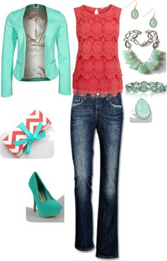 dark denim jeans, coral layered lace blouse, turquoise blazer, coral/white chevron clutch, turquoise heels, jadite accents