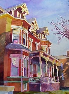"""First Street Morning"", by Robert Leedy, watercolor on Winsor Newton paper, 28"" x 20.5"". See more at www.robertleedyart.com"