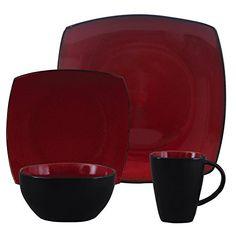 Gibson Soho Lounge Red 16-Piece Dinne…