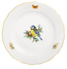 "Teller, Form ""Neuer Ausschnitt"", Vintage Vogelmalerei, Motiv - Blaumeise, Goldrand, ø 20 cm"