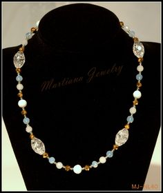 Shades of white - white and gold colored beads Necklace  http://MartianaJewelry.etsy.com