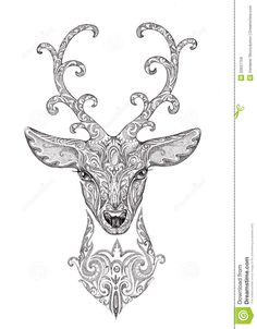 Stylized Image, Tattoo Of A Beautiful Forest Deer Head With Horn Stock Illustration - Illustration of image, pencil: 50637759 Deer Head Tattoo, Head Tattoos, Stag Design, Gravure Laser, Cute Coloring Pages, Beautiful Forest, Witch Art, Tattoo Stencils, Mandala Design