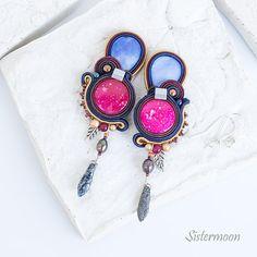 Soutache Earrings, Hermes, Sky, Colorful, Boho, Gift, Beautiful, Jewelry, Heaven