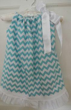 Chevron Girl  Pillowcase Dress with White Ruffle