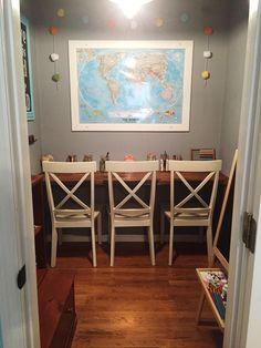 Master closet turned mini homeschool room.  Instagram- Supermomvsme