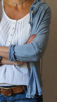 like both the white shirt with buttons and stitch detail, the white/chambray layering on top, and the overall style with jeans and brown belt (I don't usually tuck shirts though)