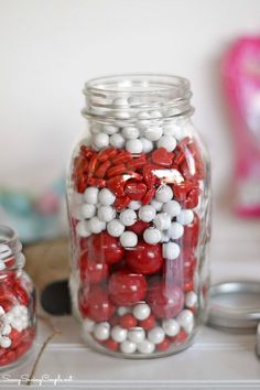 Valentine's Day Themed Candy Filled Mason Jars DIY
