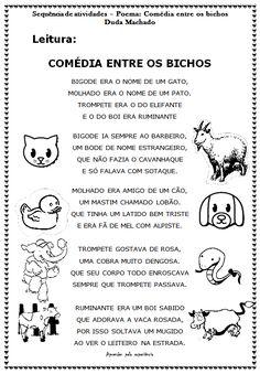 """Prof.ª Kátia Teixeira: Sequência de atividades de alfabetização - Poema """"Comédia entre os bichos"""" Duda Machado"""