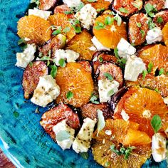 Caramelised fig, orange and goat's cheese salad http://www.ottolenghi.co.uk/recipes/mediterranean-feast/mallorca/caramelised-fig-orange-and-goat-s-cheese-salad-shop