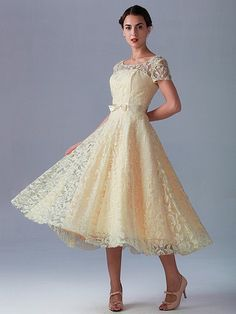 Pin to Win a Wedding Gown or 5 Bridesmaid Dresses! Simply pin your favorite dresses on www.forherandforhim.com to join the contest! | Lace Dress with Short Sleeves $199.99