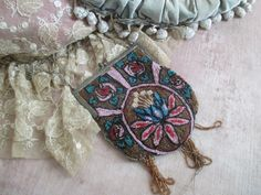 Antique Victorian Glass Beaded Purse Pink Peacock by BellaBordello