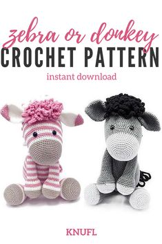 How adorable can you get! This pattern includes instructions for both the zebra and the donkey. #crochetamigurumi #crochetzebra #crochetdonkey #crochettoys #affiliate