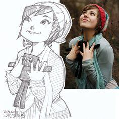 Felynx and Enderman Sketch by Banzchan Cartoon Sketches, Cool Sketches, Cool Drawings, Cartoon Kunst, Cartoon Art, Sketches Of People, Drawing People, Character Sketches, Character Drawing