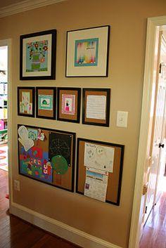 Old frames and cork board- instant kids art display