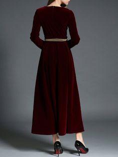 Velvet Elegant Long Sleeve Swing Evening Dress With Belt