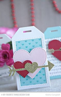 Mini Hearts Background, Stitched Heart STAX Die-namics, Tag Builder Blueprints 5 Die-namics - Keisha Campbell #mftstamps