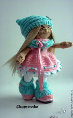 Купить Мятно-клубничная конфетка - мятный, розовый, белый, кукла ручной работы, Вязание крючком