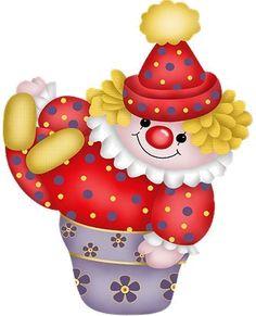 Clown in a Flower Pot Clip Art Circus Clown, Circus Theme, Circus Party, Clown Mignon, Mardi Gras, Charlie E Lola, Clown Images, Image Halloween, Clown Party
