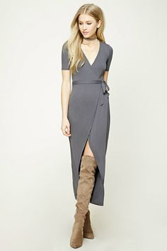 Style Deals - A knit maxi dress featuring a wrap-front with self-tie straps, a surplice neckline, crossover hem, short sleeves, and an interior button closure.