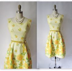 1960's Floral Chiffon Garden Party Mad Men Cocktail Dress NOS Deadstock Unworn XS S