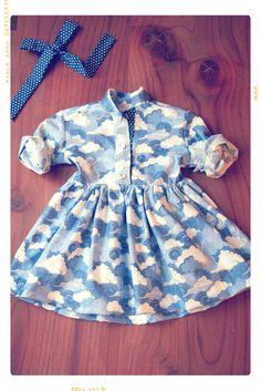 The Clouded Skies Girls Shirtdress by Fleur + Dot. Handmade. Vintage Inspired. Kids Fashion. #fleuranddot