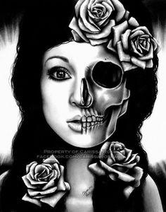 8x10 in Signed Art Print - In A Trance Half Skull Portrait by Carissa Rose, Art Gallery :: Prints :: MoreThanHorror.com