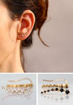 Gold Ear cuff  with Cubic Zirconia Gemstone , Ear Climber , Gold Ear pin   , Delicate earrings , Wedding earrings , Bride earings by sigalitaJD on Etsy https://www.etsy.com/listing/216755797/gold-ear-cuff-with-cubic-zirconia